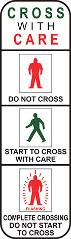 white sign separated into 4 panels with icons of red standing person and green walking person, and the words cross with care, do not cross, start to cross with care, and complete crossing do not start to cross
