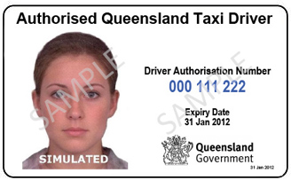 Current authorised driver card example. Shows photograph, driver number, expiry date of taxi driver authorisation and the Queensland Government crest.
