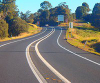A road with wide centre lines