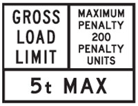 Image of a restricted road use sign that restricts the use of the road by weight