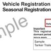 Sample vehicle registration renewal notice for seasonal registration showing the customer reference number