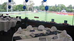 Tables decorated for a function.
