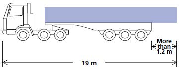 Illustration of a vehicle with load projecting more than 1.2m from the rear of the vehicle