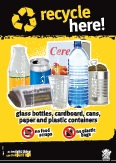 Imagery: Glass juice bottle, newspaper, aluminium can, cereal carton, plastic cup, plastic bottle, steel can, plastic containers