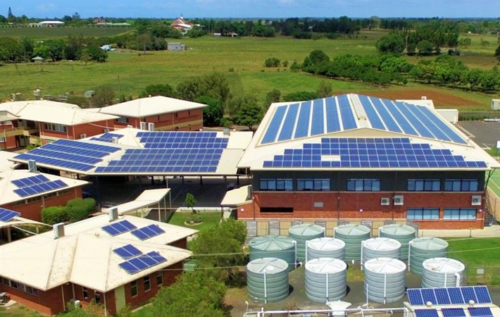 Photo: Bundaberg Christian College solar and water harvesting systems.