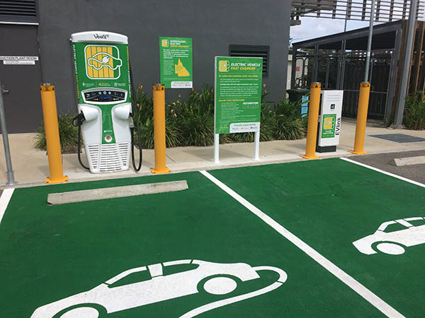 A charging site located at James Cook University, Townsville, part of the Queensland Electric Super Highway.