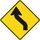 yellow diamond-shaped sign with black arrow with tail kinked about 45 degrees left then right