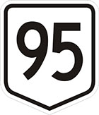 white shield-shaped sign with the number 95 in black