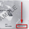 Sample driver licence showing the card number