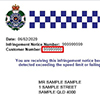 Sample camera detected offence notice showing the customer reference number