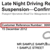 Sample late night driving restriction notice showing the customer reference number