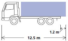 An illustration of a load projecting from the rear of a vehicle