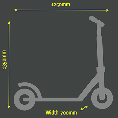 Image of scooter showing 1250mm length by 1350mm height by 700mm depth