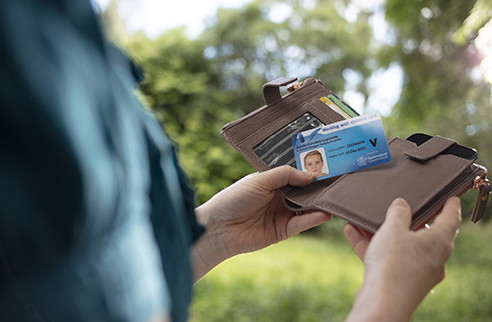 Person holding Bluecard