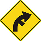 yellow diamond-shaped sign with black arrow that curves steadily right with a line branching off on the inside of the curve
