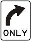 All traffic turn right sign
