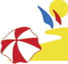 white, red, yellow and blue icon representing the coast