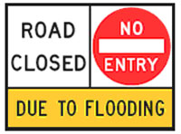 Image of a no entry sign that temporarily closes the road because of flooding.