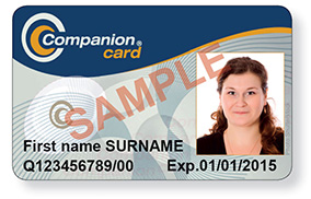 Sample front of Companion Card