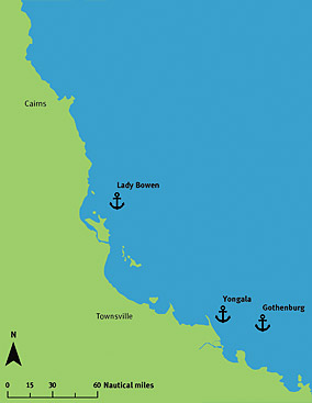 Map of dive sites on the Great Barrier Reef.