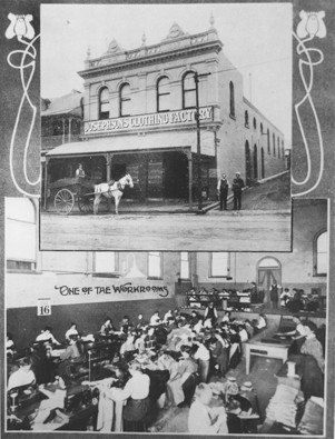 Photo of the outside of Baroona Hall in 1909 after conversion to Josephson's Clothing Factory