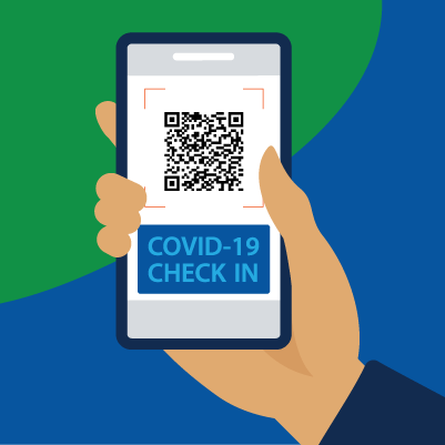 An illustration of a smartphone using a check-in app