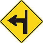 yellow diamond-shaped sign with black arrow that curves sharply left with a thinner line continuing upward