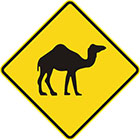 yellow diamond-shaped sign with black camel icon