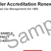 Sample industry authority accreditation renewal notice showing the customer reference number