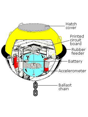 Cut away illustration of a wave monitoring buoy showing its components - hatch cover board, printed circuit board, rubber feeder, battery, accelerometer and ballast chain