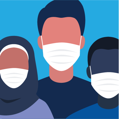 An illustration of multiple people wearing face masks
