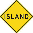 yellow diamond-shaped sign with black text, island