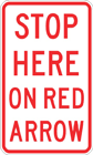 Stop here on red arrow sign