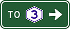 green sign with white arrow and the word to, as well as a white hexagonal badge with a blue number 3