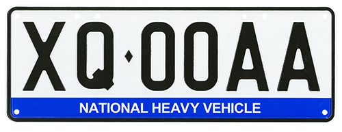 Example of national heavy vehicle number plate