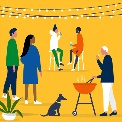 An illustration of backyard barbeque with a group of people sitting and drinking, talking, and cooking