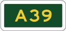 green sign with A39 in yellow