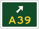 green sign with A39 in yellow and a white arrow