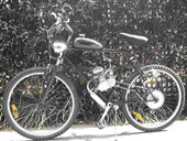 An image of a bicycle with a combustion engine attached