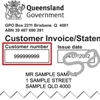 Sample customer invoice/statement showing customer reference number