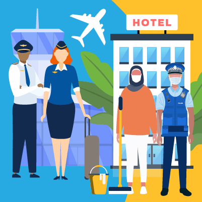 An illustration of some high risk worker categories including a pilot, a flight attendant, a quarantine hotel cleaner and a police officer