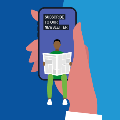 An illustration of a smartphone held in a hand, with the screen showing the text