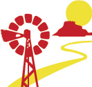 white, red and yellow icon representing the outback