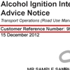 Sample alcohol ignition interlock program advice notice showing the customer reference number