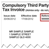 Sample compulsory third party (CTP) tax invoice showing the customer reference number