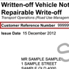 Sample written-off vehicle notice repairable write-off showing the customer reference number