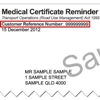Sample medical certificate reminder showing the customer reference number