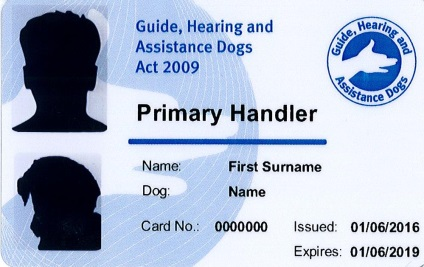 An example of the front of a Primary Handler Identity Card