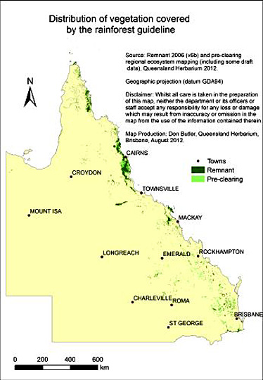 Map showing the distribution of pre-clearing and remnant rainforest in Queensland.