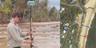 Left image shows a surveyor measuring the height of storm surge at the beach. Right image shows an aerial view of the beach with dotted lines measuring the sand beach profile.